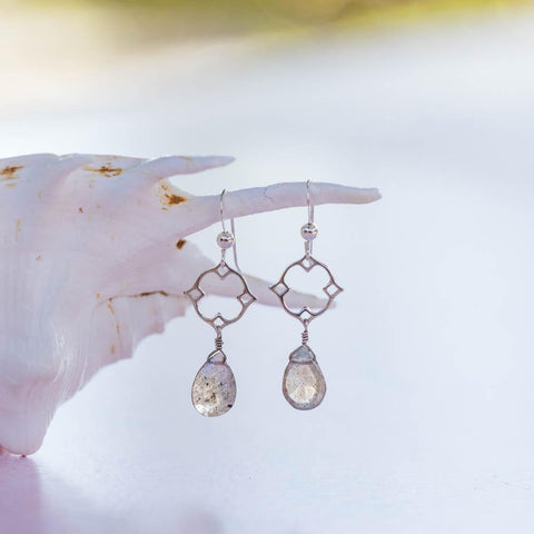 Chalcedony, Labradorite, and Pearl Cluster Earrings