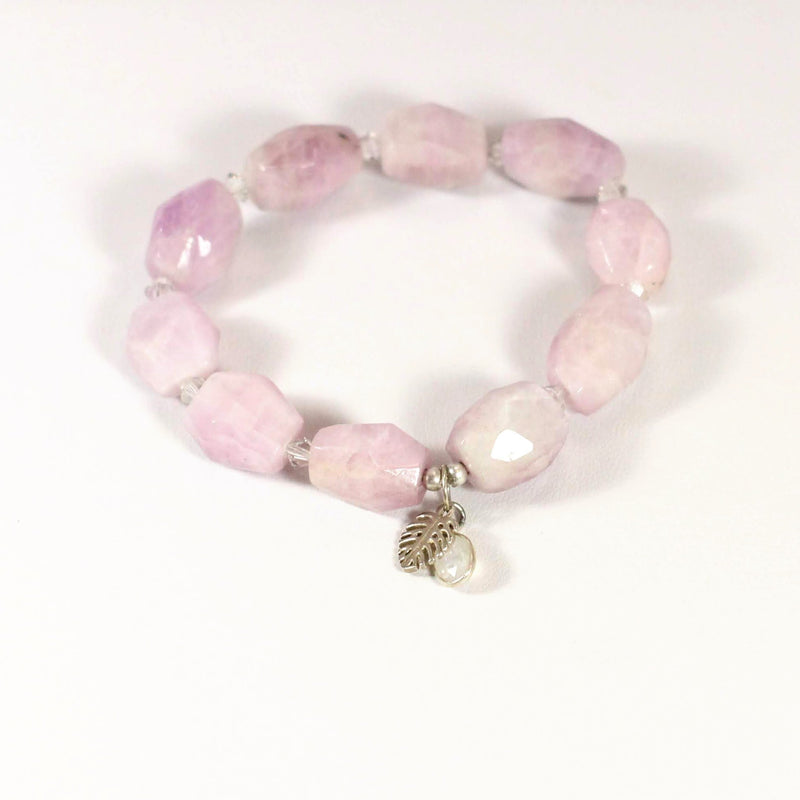 Monstera Kunzite Stretch Bracelet - Devi & Co