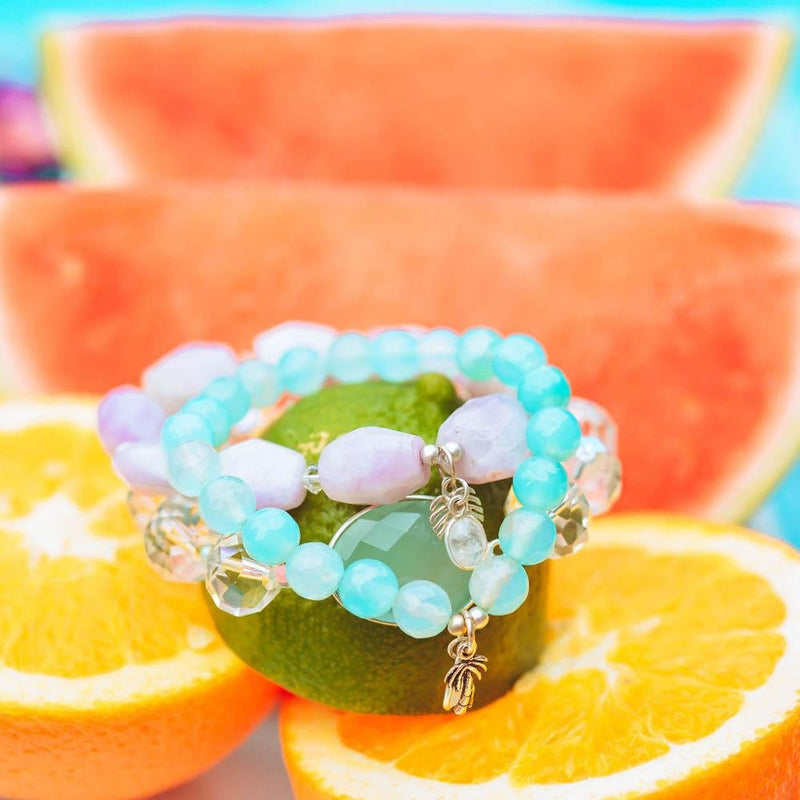 Palm Tree Agate Stretch Bracelet - Devi & Co