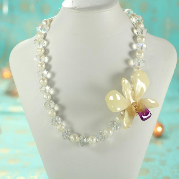 Pearl and Crystal Real Orchid Statement Necklace | Handmade | Preserved Orchid - Devi & Co