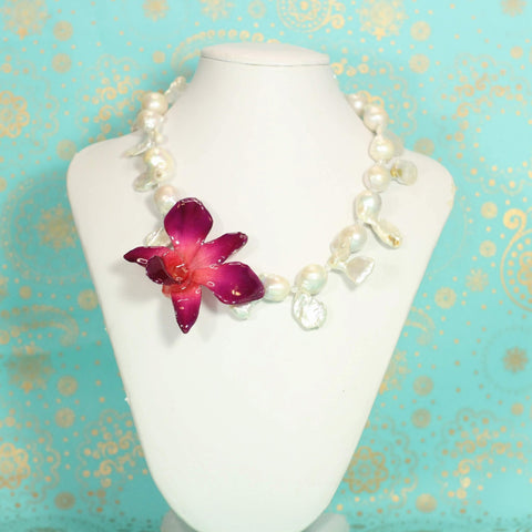 Orchid Petal Charm Necklace