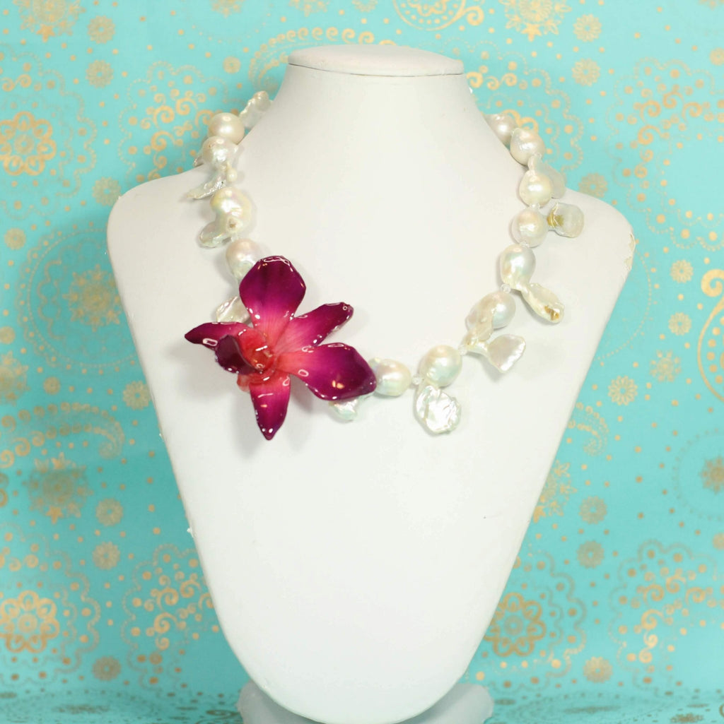 Pearl, Topaz, and Real Orchid Statement Necklace - Devi & Co