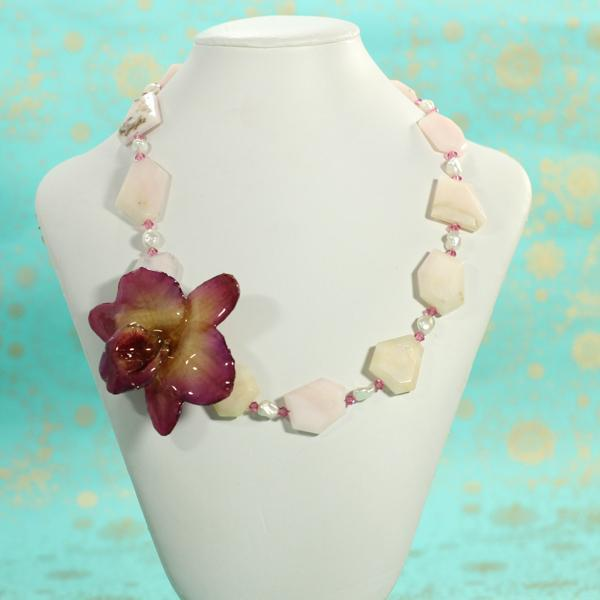 Peruvian Opal and Pearl Real Orchid Necklace | Handmade | Statement Necklace - Devi & Co