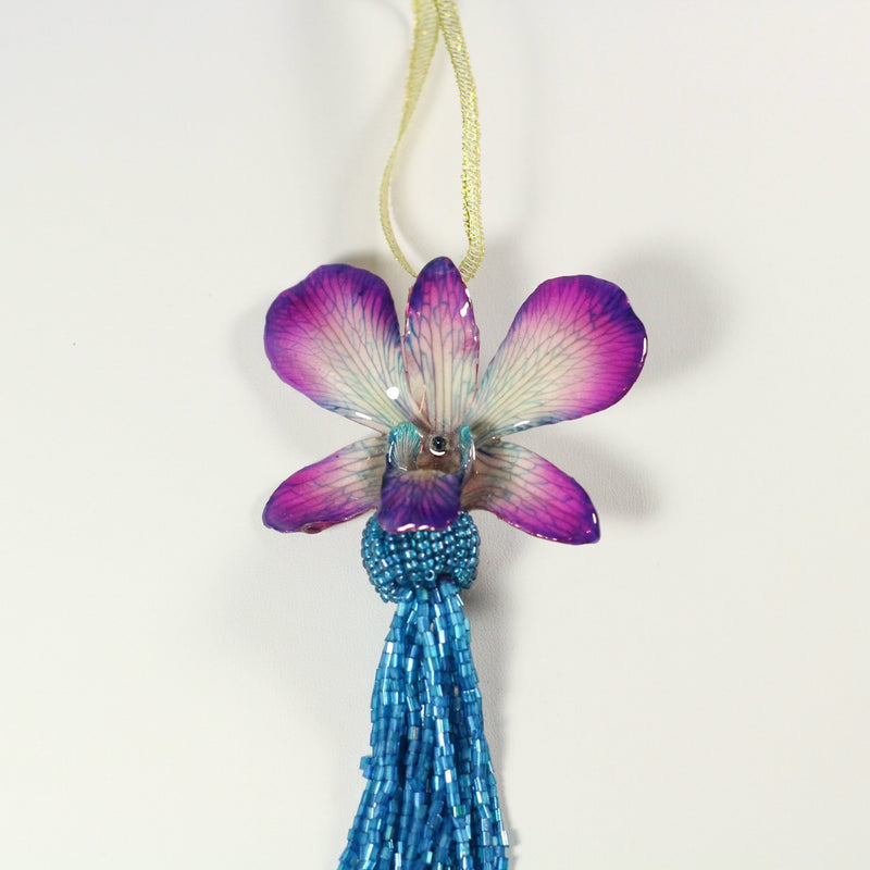 Purple and Blue Real Orchid Beaded Christmas Ornament - Devi & Co
