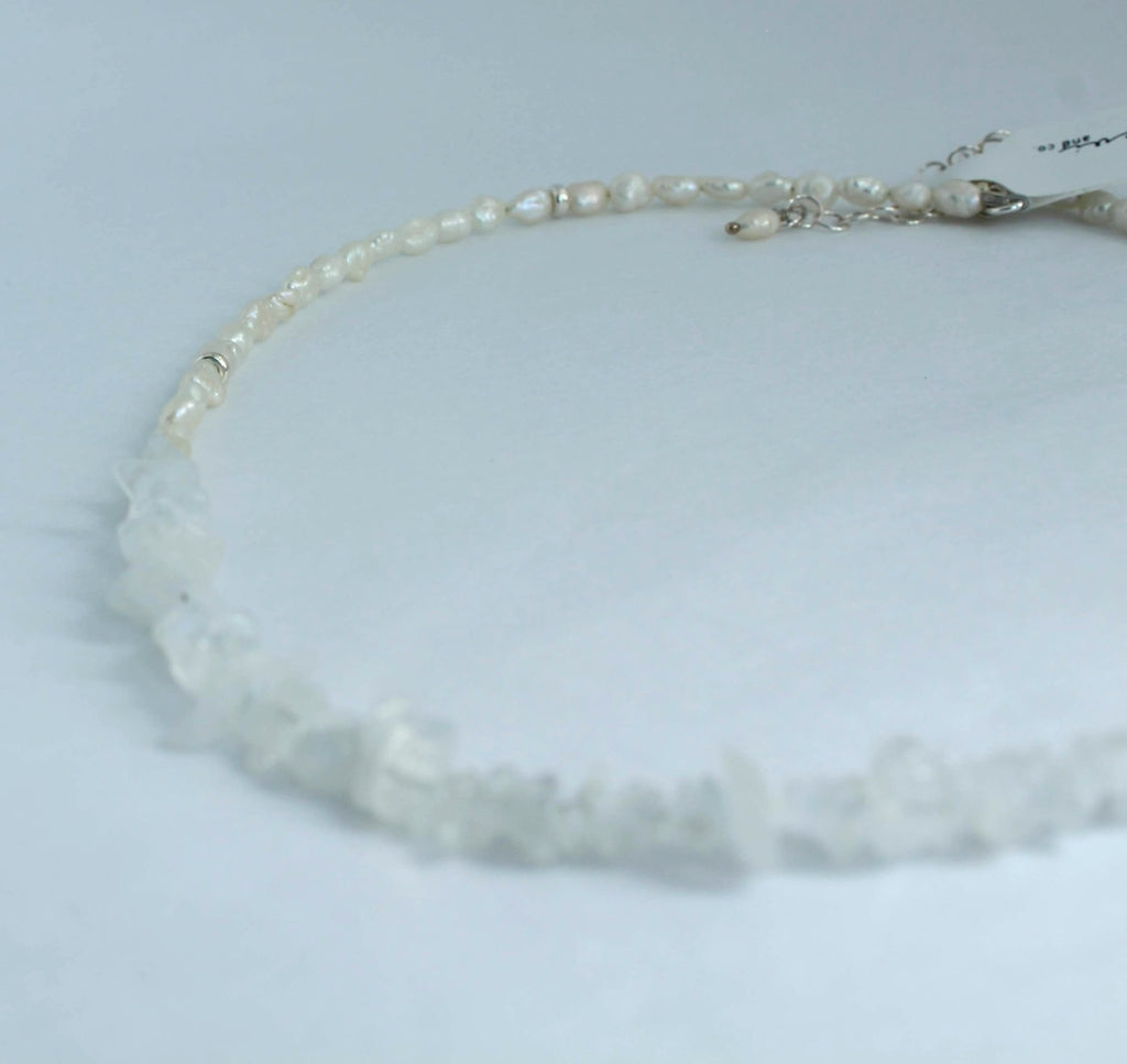 Rainbow Moonstone and Pearl Accent Choker Necklace - Devi & Co