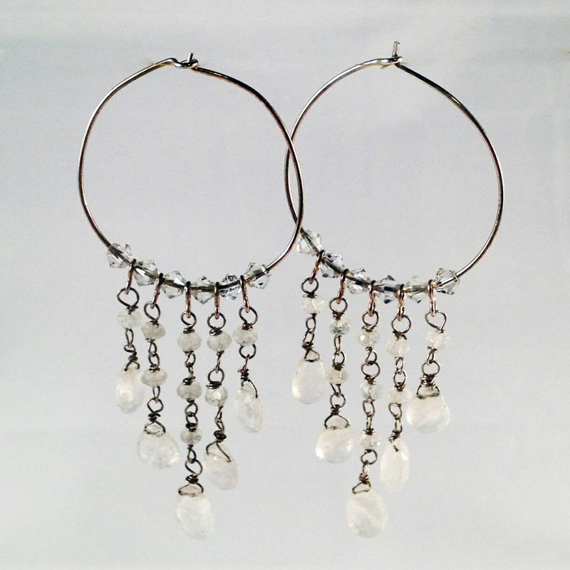 Rainbow Moonstone Chandelier Hoop Earrings | Fine Jewelry - Devi & Co
