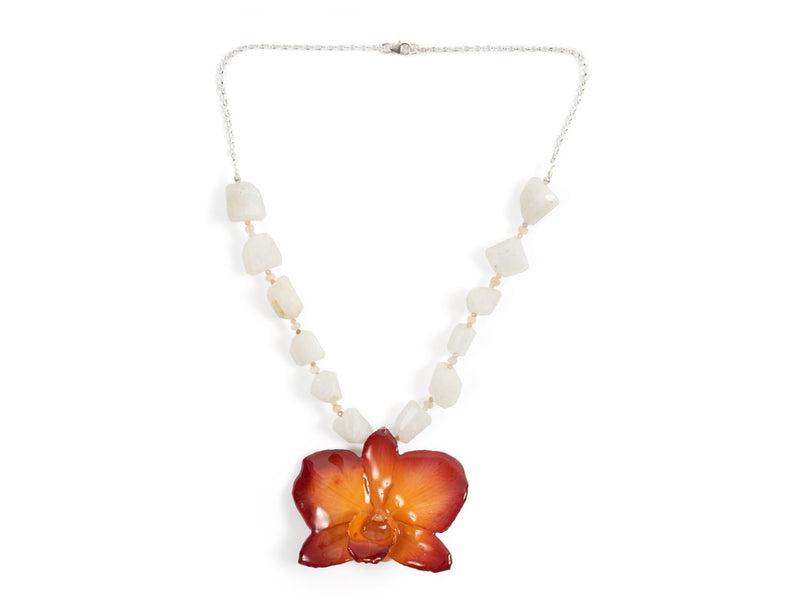 Rainbow & Peach Moonstone Sterling Silver Real Orchid Necklace - Devi & Co
