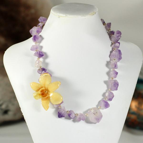 Raw Amethyst Real Orchid Statement Necklace | Handmade | Preserved Orchid - Devi & Co