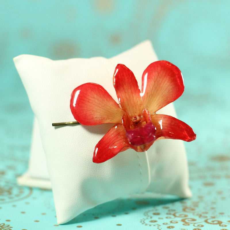 Red Orange Dendrobium Real Orchid Hair Pin - Devi & Co