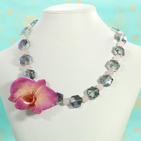 Labradorite and Topaz Real Orchid Statement Necklace