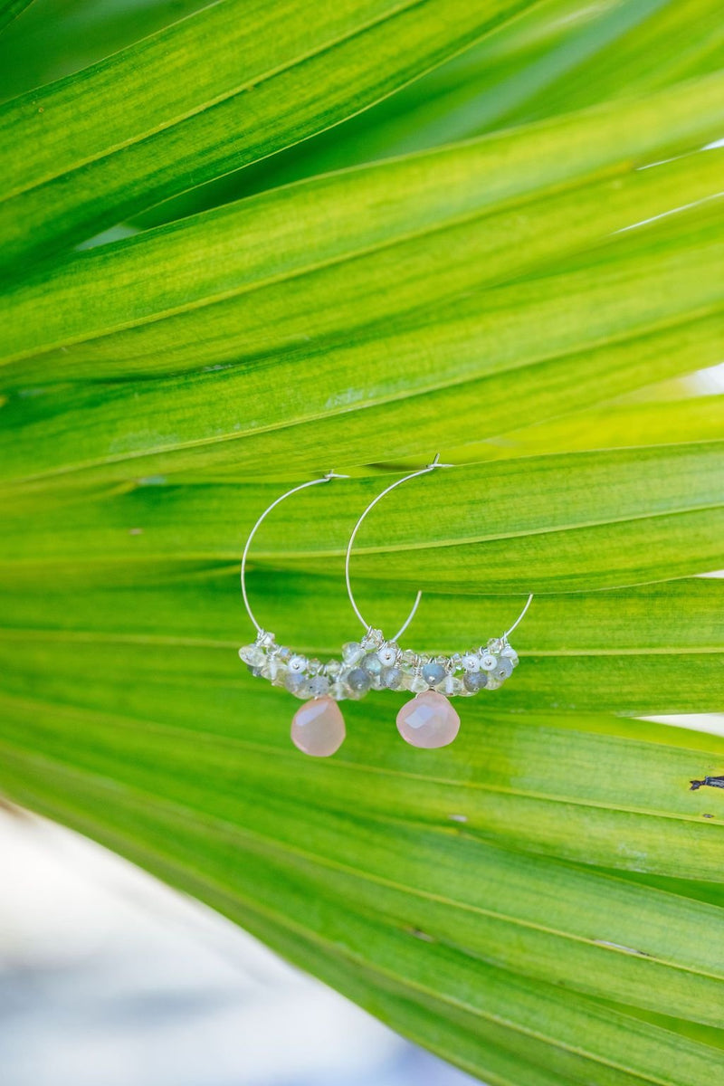Rose Quartz Cluster Hoop Earrings - Devi & Co