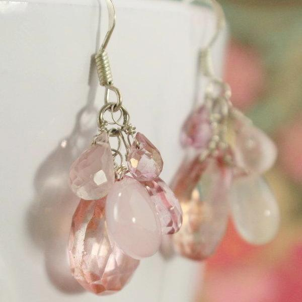 Rose Quartz Drop Earrings | Handmade | Gemstone Jewelry - Devi & Co