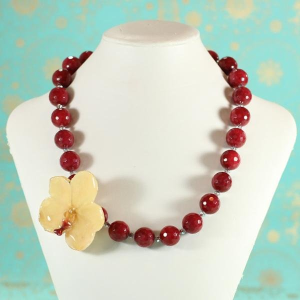 Ruby Red Jade and Real Orchid Necklace | Handmade | Statement Necklace - Devi & Co