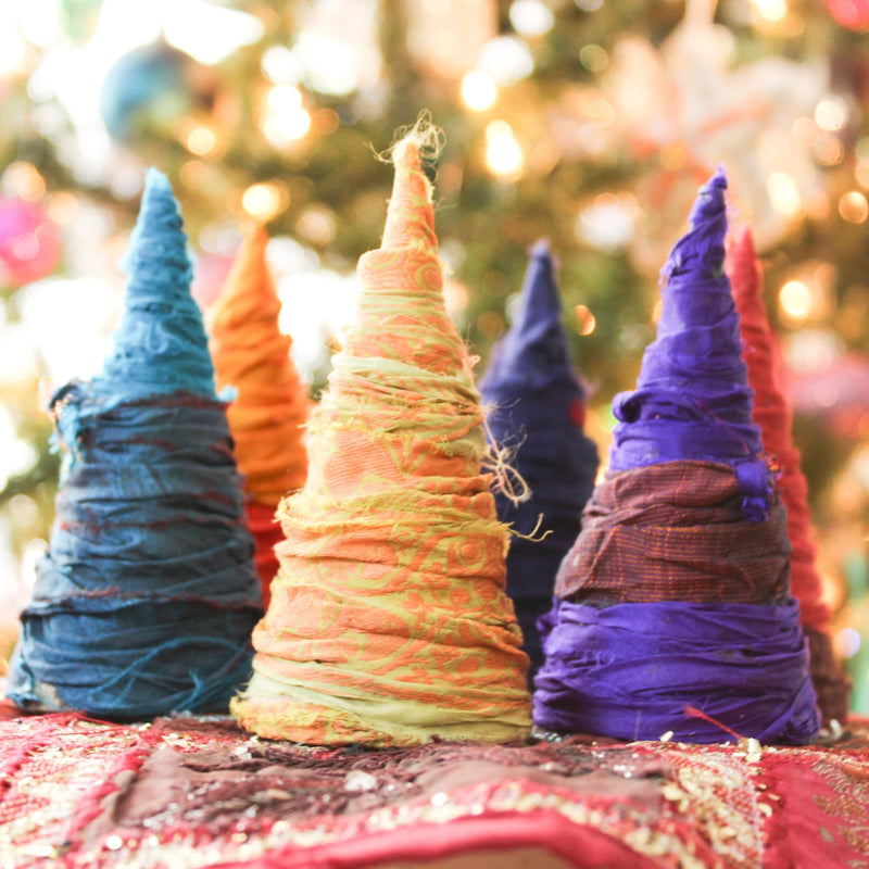 Small Bohemian Christmas Tree set | Holiday Decor Set | Handmade Boho Christmas Decor | Boho Decor - Devi & Co
