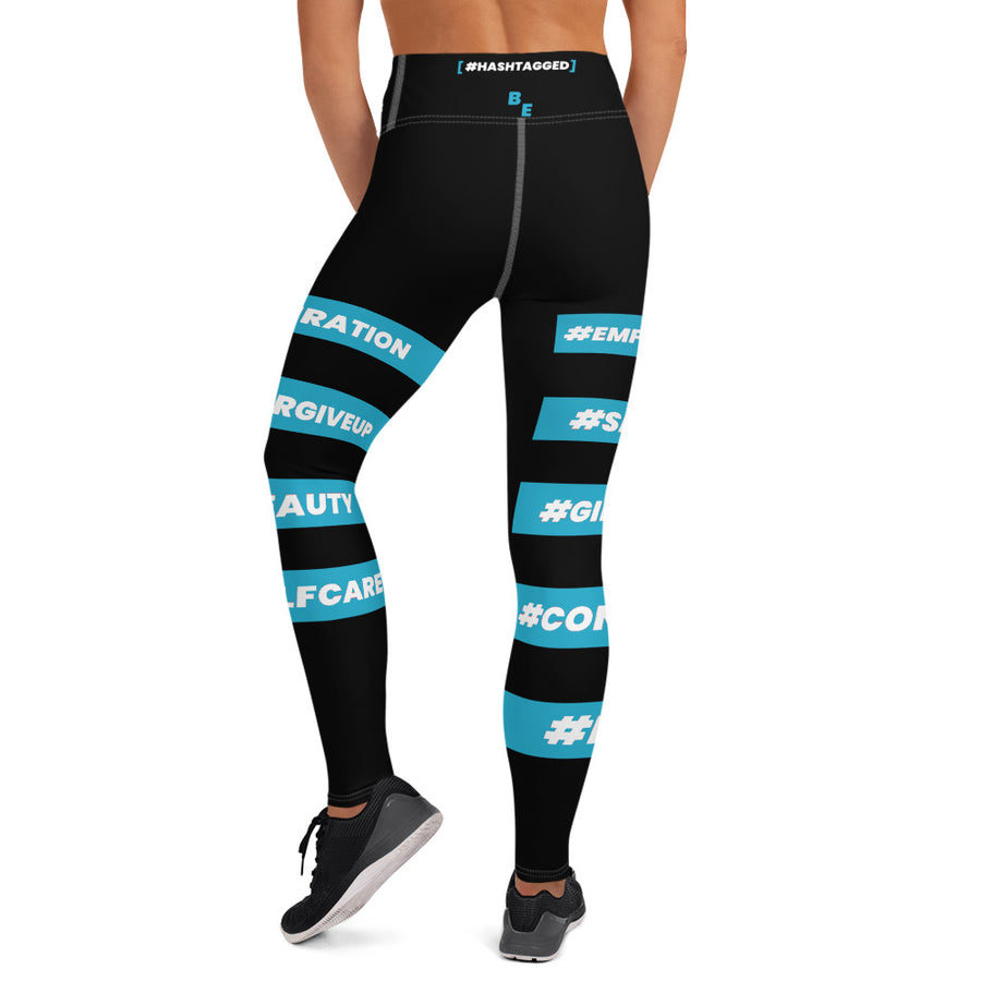 #HASHTAGGED BLUE Illuminated - Yoga Leggings (BLACK)