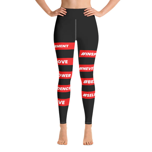 #HASHTAGGED RED Illuminated - Yoga Leggings (BLACK)