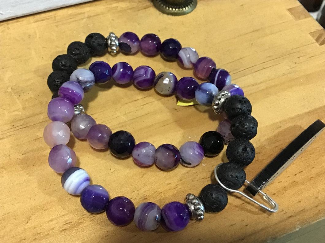 Aromatherapy Handcrafted Bracelet - Purple Agate
