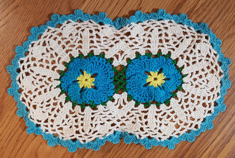 Vintage Crocheted Doily with Turquoise Accents