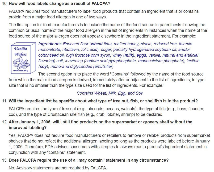 FALCPA Food Labeling Requirements_AllergyFree4Me.com
