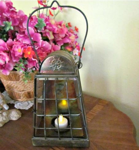 Metal Vintage Hanging Candle Lantern featured at AtticandBarnTreasures