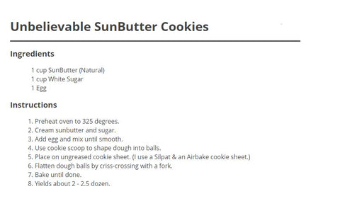 SunButter Cookie Recipe