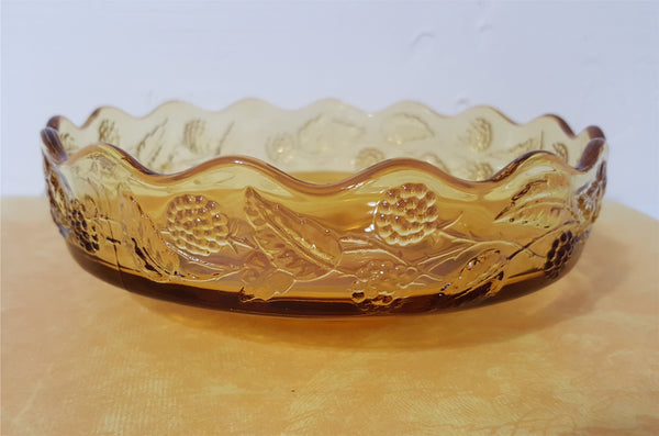 Vintage Glass Amber Bowl with Scalloped Rim