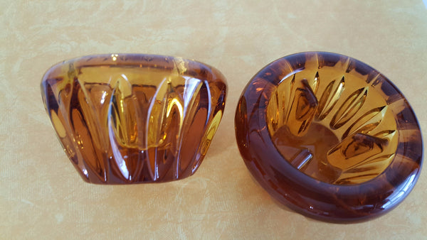 Vintage Amber Glass Candle Holders,  Set of 2 Tapered Candle Holders - 2aEmporium