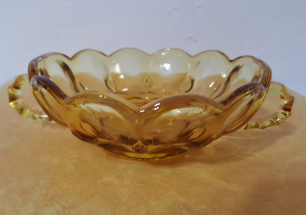 Vintage Anchor Hocking Amber Glass Nappy or Candy Dish with Two Handles  c. 1970s - 2aEmporium