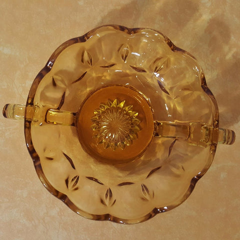 Vintage Anchor Hocking Amber Glass Nappy or Candy Dish with Two Handles  c. 1970s