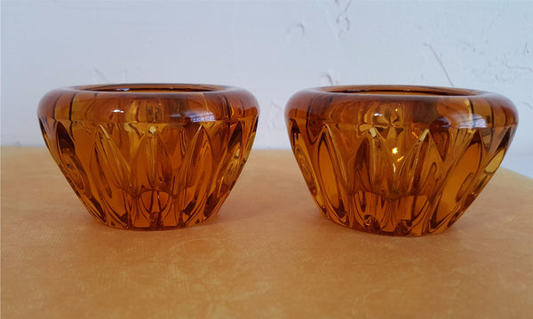 Vintage Amber Glass Candle Holders,  Set of 2 Tapered Candle Holders