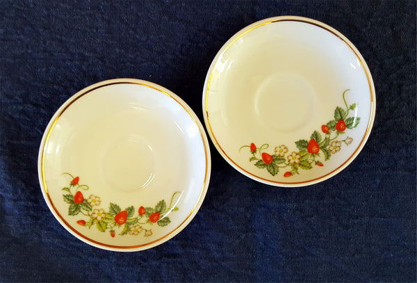 "Set of 2 Avon Collectible Strawberry 4"" Saucers  c. 1978"