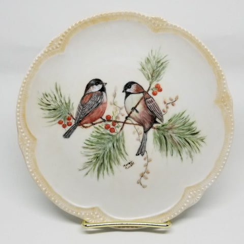 Vintage Winter Song Bird Plate with Evergreen and Berries - 2aEmporium