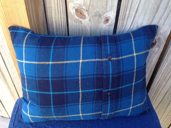 Re-purposed Handmade Blue Plaid Flannel Pillow Cover with Pillow Form - 2aEmporium