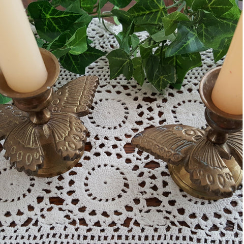 Vintage Brass Butterfly Candle Holders, Set of 2 - 2aEmporium