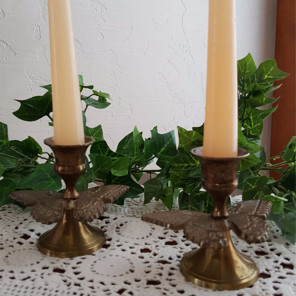 Vintage Brass Butterfly Candle Holders, Set of 2