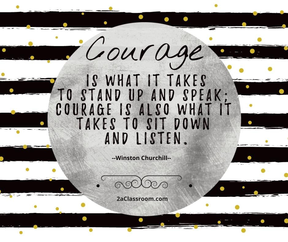 2aClassroom's COURAGE Character Training Poster Black & White size 8 x 10 - FREE DOWNLOAD - 2aEmporium