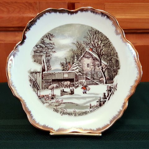 "Currier & Ives Collector Plate, ""The Farmer's Home - Winter"""