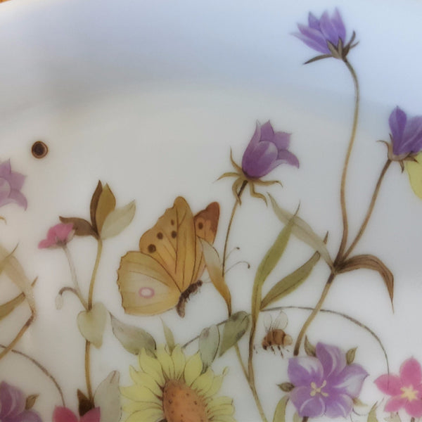 Earred Floral Au Gratin Dishes, Set of 4, Nature Garden Society, Fine China by Enesco  c. 1975