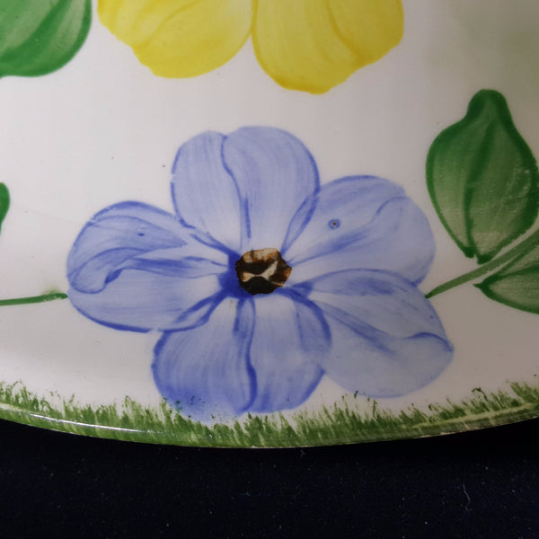 Vintage Blue and Yellow Floral Oval Dish