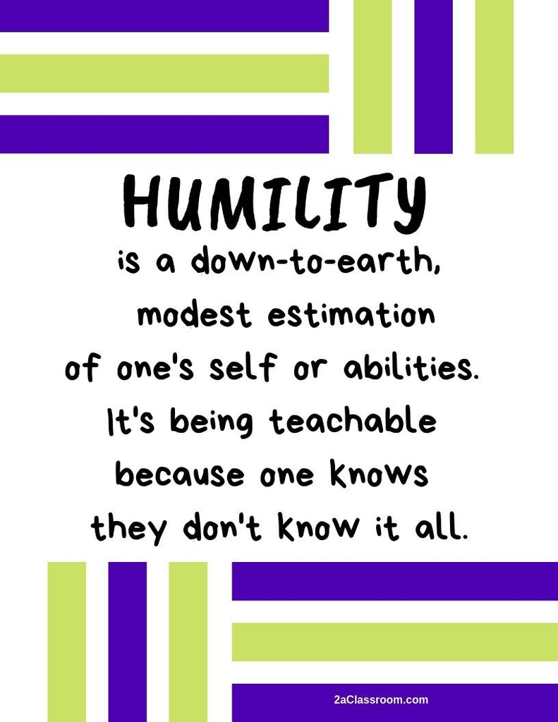 2aClassroom's HUMILITY Character Training Poster Green and Purple size 8 x 10 - FREE DOWNLOAD - 2aEmporium