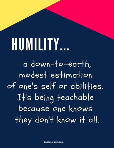 2aClassroom's HUMILITY Character Training Poster Yellow, Pink and Blue size 8 x 10 - FREE DOWNLOAD - 2aEmporium