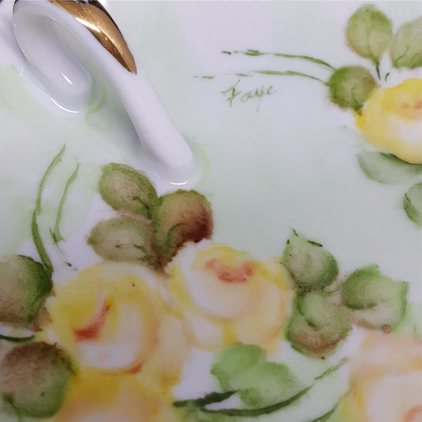Limoges Porcelain Handled Candy Dish, Hand Painted Yellow Roses