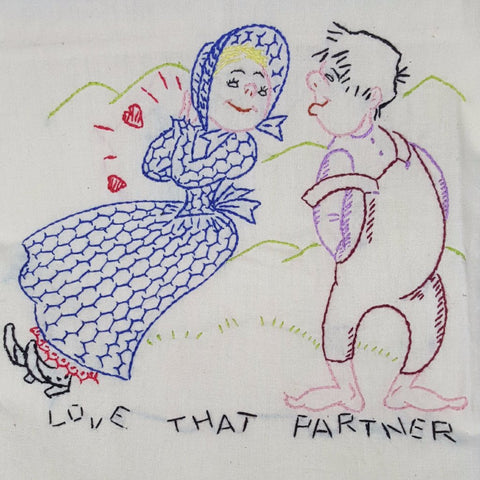 "Vintage Hand-Embroidered Tea Towel ""Love That Partner"" - 2aEmporium"
