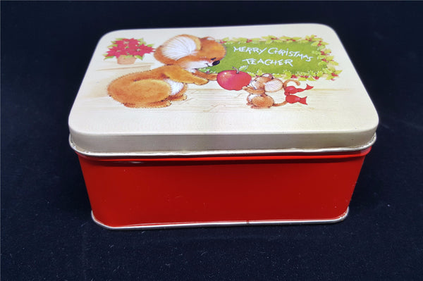 "Vintage Christmas Tin, ""Merry Christmas Teacher""  c. 1980"