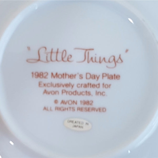 "Mother's Day Plate 1982, Vintage Collectible Avon Plate, ""Little Things Mean A Lot""  c. 1982"