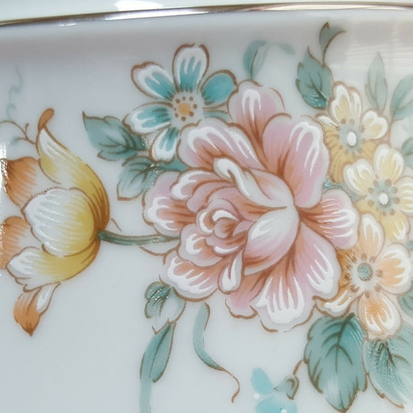 Noritake Floral Creamer and Sugar Bowl with Lid, Coquet Pattern  c. 1979-1986 - 2aEmporium