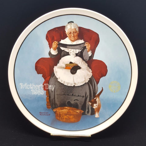 "Norman Rockwell Collectible Plate, ""Mending Time""  c. 1985"
