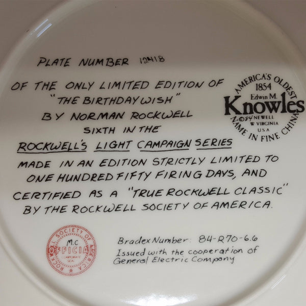 "Norman Rockwell Collectible Plate ""The Birthday Wish""  c. 1984"