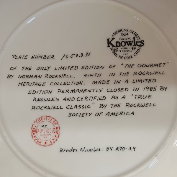 "Norman Rockwell Collectible Plate, ""The Gourmet""  c. 1985 - 2aEmporium"