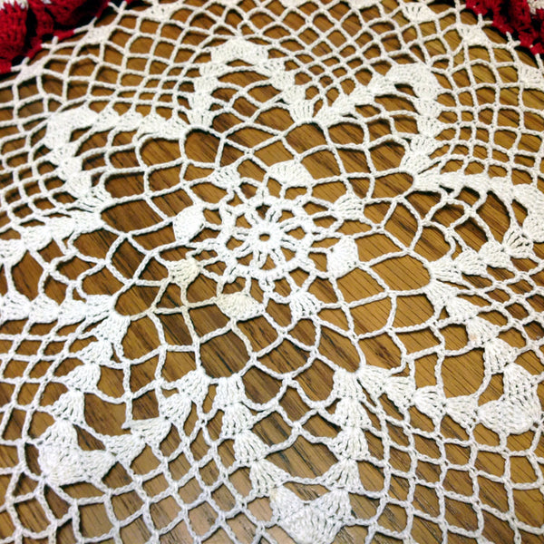 Vintage Crocheted Red and White Table Top Doily with Ruffled Edge